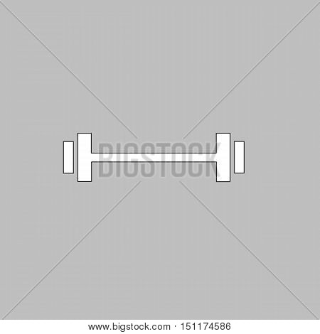 Barbell Simple line vector button. Thin line illustration icon. White outline symbol on grey background