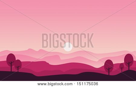 Silhouette of hill and tree scenery vector illustration