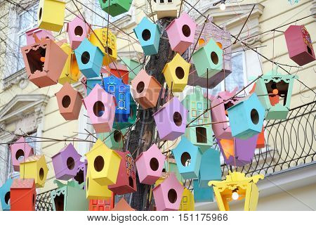 The Beautiful Colorful Birdhouses In The City Center Of Lviv, Ukraine