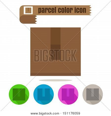 icon parcel colorful design vector on white background