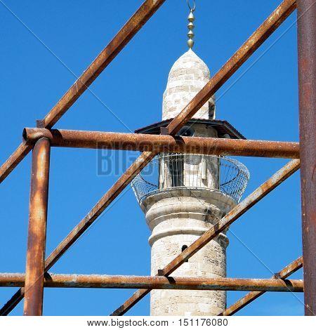 Scaffolding near minaret of Al-siksik Mosque in old city Jaffa Israel March 14 2011