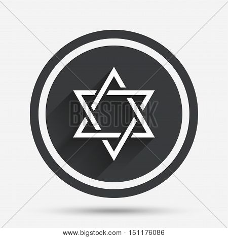 Star of David sign icon. Symbol of Israel. Jewish hexagram symbol. Shield of David. Circle flat button with shadow and border. Vector