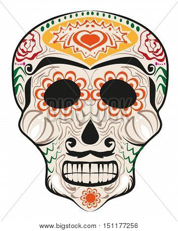 Day of Dead painted skull. Dia de Muertos translated from Spanish. Isolated on white vector illustration