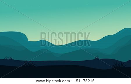 Silhouette of hill and fog scenery vector illustration