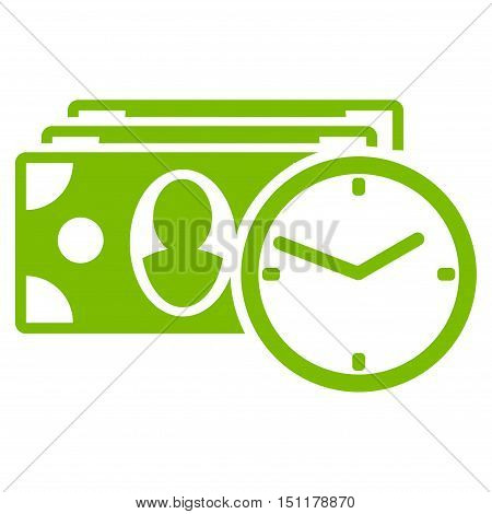 Cash Credit icon. Glyph style is flat iconic symbol with rounded angles, eco green color, white background.