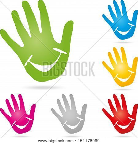 Hand and smile, colored, pediatrician and nursery school logo