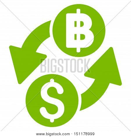 Dollar Baht Exchange icon. Glyph style is flat iconic symbol with rounded angles, eco green color, white background.