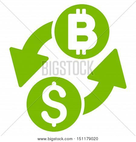 Dollar Bitcoin Exchange icon. Glyph style is flat iconic symbol with rounded angles, eco green color, white background.