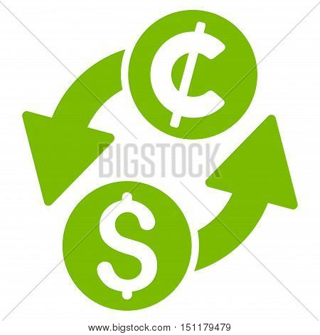 Dollar Cent Exchange icon. Glyph style is flat iconic symbol with rounded angles, eco green color, white background.