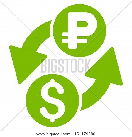 Dollar Rouble Exchange icon. Glyph style is flat iconic symbol with rounded angles eco green color white background.