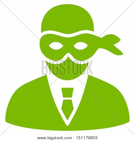 Masked Thief icon. Glyph style is flat iconic symbol with rounded angles eco green color white background.