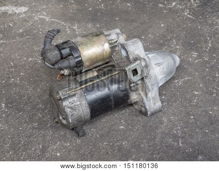 Old and dirty engine dynamo starter motor