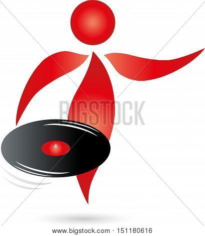 Human and sound record, DJ and music logo
