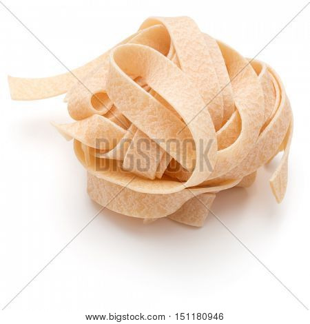Italian pasta fettuccine nest isolated on white background cutout