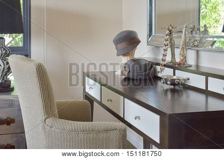 Classic Brown Chair With Jewelry Set On Dressing Table At Home