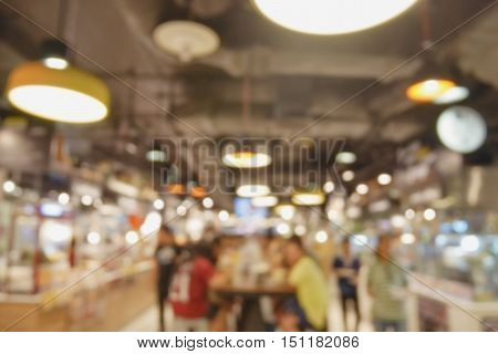 Blur background food court at shopping mall