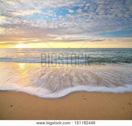 Panorama of beautiful seascape. Nature composition.