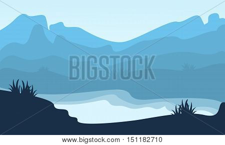 Silhouette of hill and lake scenery vector illustration