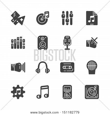 Set of solid icons for music. Vector illustration. eps 10
