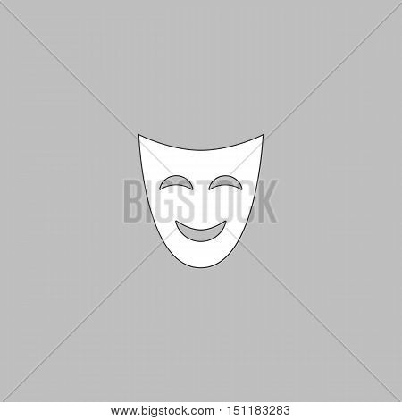 comedy mask Simple line vector button. Thin line illustration icon. White outline symbol on grey background