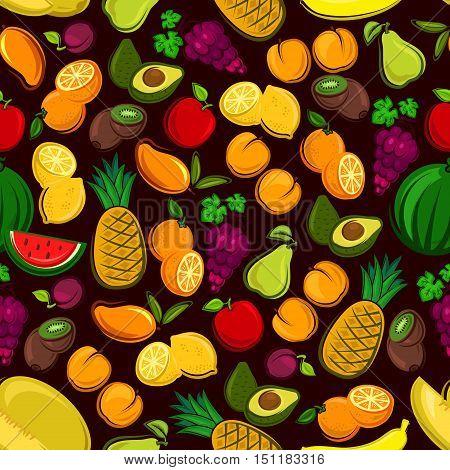 Fruits seamless pattern background. Vector pattern of fresh, tropical and exotic fruit watermelon, grape, pineapple, apricot, mango, avocado, pear, apple, plum, melon peach kiwi lemon orange banana