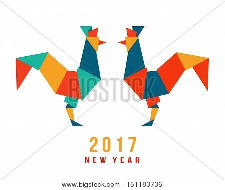 Chinese New Year of the Rooster 2017. Celebration greeting card, placard, banner, poster, flyer template. Festival vector illustration of two cockerels in origami geometric style, isolated on white