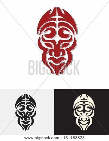 totem tribal man face mask vector design illustration