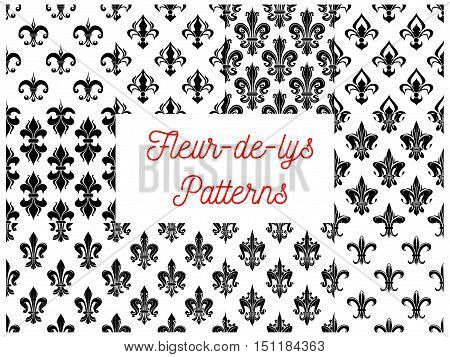 Fleur-de-lys royal french lily seamless patterns. Vector pattern of black heraldic fleur-de-lis symbols on white background