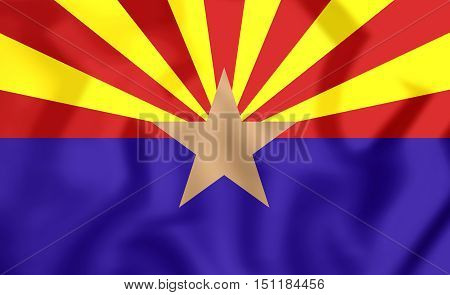 3D Flag Of Arizona, Usa. 3D Illustration.