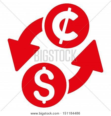 Dollar Cent Exchange icon. Glyph style is flat iconic symbol with rounded angles, red color, white background.