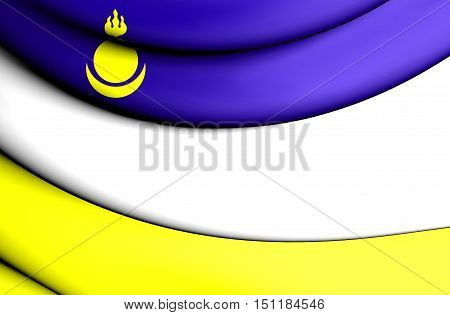 Republic Of Buryatia Flag, Russia. 3D Illustration.