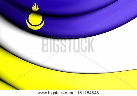 Republic Of Buryatia Flag, Russia. 3D Illustration.