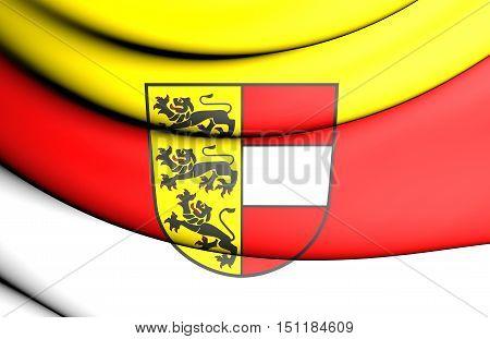 3D Flag Of Carinthia Land, Austria. 3D Illustration.