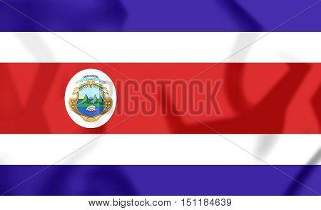 3D Flag Of Costa Rica. 3D Illustration.