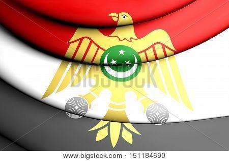 3D Flag Of Egypt (1952-1958). 3D Illustration.