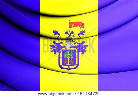 3D Flag Of Guadalajara (vertical), Mexico. 3D Illustration.