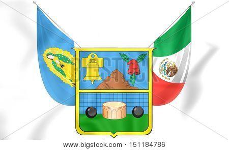 3D Flag Of Hidalgo, Mexico. 3D Illustration.