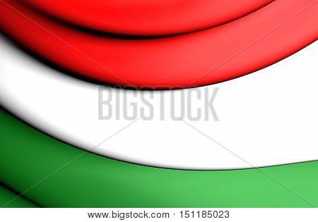 3D Flag of Hungary. 3D Illustration. Close Up.