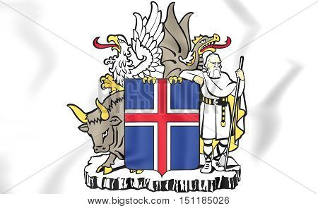 Iceland Coat of Arms. 3D Illustration. Close Up.