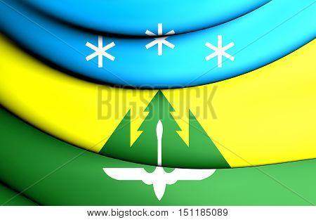 3D Flag Of Khanty-mansiysk, Russia. 3D Illustration.