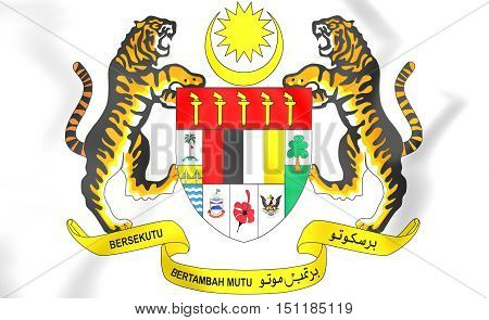 Malaysia coat of arms. 3D Illustration. Close Up.