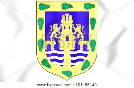 Mexican Federal District Coat Of Arms. 3D Illustration.