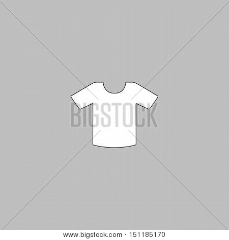 Shirt Simple line vector button. Thin line illustration icon. White outline symbol on grey background