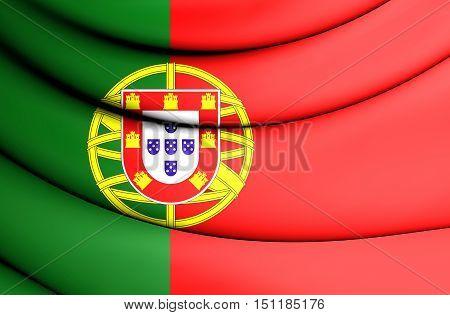 3D Flag Of The Portugal. 3D Illustration.