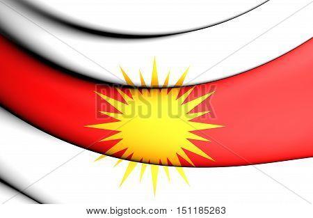 Yezidi Flag. 3D Illustration. Front View. Close Up.