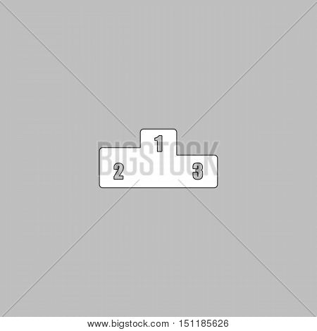 Pedestal Simple line vector button. Thin line illustration icon. White outline symbol on grey background