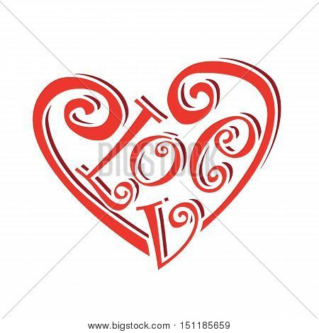 heart symbol text love concept valentines day caligraphic lettering vector illustration