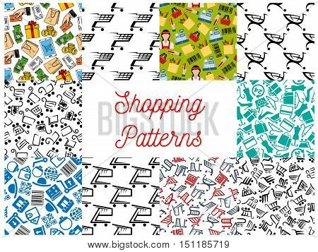 Shopping seamless pattern. Vector pattern of shopping basket, cash box, dollar banknotes, smartphone, money purse, credit card, gift, store, shopping paper bag, dress coin bar code