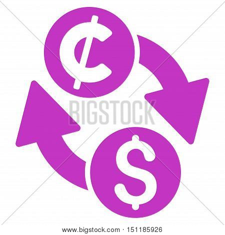 Dollar Cent Exchange icon. Glyph style is flat iconic symbol with rounded angles, violet color, white background.