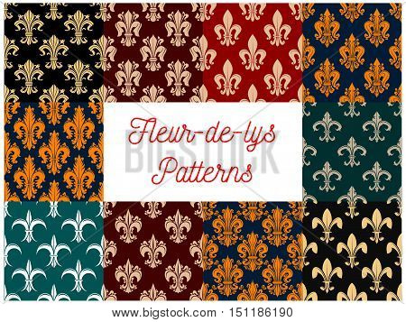 Fleur-de-lys royal french lily seamless pattern backgrounds. Vector pattern of heraldic fleur-de-lis decorative elements